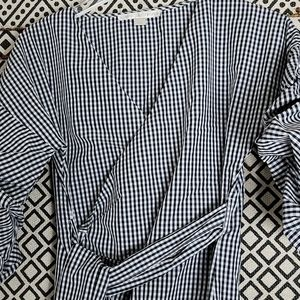Boston Proper Tops - Boston Proper Black and White Wrap Top